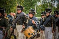 MOSCOW REGION - SEPTEMBER 06: Historical reenactment battle of Borodino at its 203 anniversary. royalty free stock photos