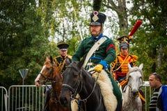 MOSCOW REGION - SEPTEMBER 06: Historical reenactment battle of Borodino at its 203 anniversary. stock photos