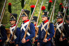 MOSCOW REGION - SEPTEMBER 06: Historical reenactment battle of Borodino at its 203 anniversary. Stock Images