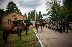 MOSCOW REGION - SEPTEMBER 06: Historical reenactment battle of Borodino at its 203 anniversary. Unidentified soldiers  and Officers in historical uniform are Royalty Free Stock Images