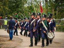 MOSCOW REGION - SEPTEMBER 06: Historical reenactment battle of Borodino at its 203 anniversary. Royalty Free Stock Photography