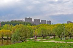 Moscow residential district with park and pond Stock Photo