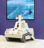 Tracked robot patrols danger zones where manifestations of terrorism are seen royalty free stock photography
