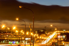 Of the Moscow ring road at night Stock Image