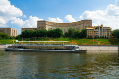 Moscow-river. River motor ship on Moscow-river Stock Image