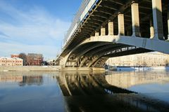 Moscow River, Andreyevsky Bridge and promenade Stock Images