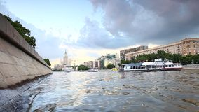 Moscow river bank stock footage