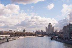 Moscow river and blue sky royalty free stock photos