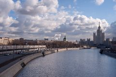 Moscow river and blue sky stock photos
