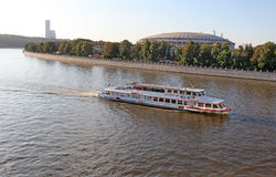Moscow river with  boat Royalty Free Stock Image