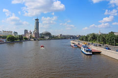 Moscow river and Business and cultural complex Riverside towers, Moscow, Russia Stock Photography