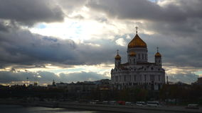 Moscow river and the cathedral of Christ the Savior time lapse video. Clip stock video footage