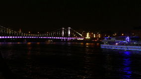 Moscow River in the center of the city at night in stock video footage