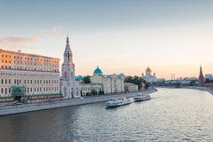 Moscow river and city Royalty Free Stock Image