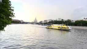 Moscow river and city stock footage