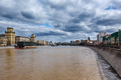 Moscow River Embankment and Khamovniki Cityscape Stock Images