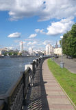Moscow river and embankment in summer day Royalty Free Stock Photography
