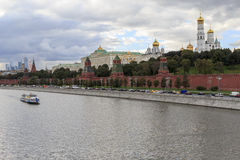 Moscow river embankment. View of the Moscow Kremlin Royalty Free Stock Image