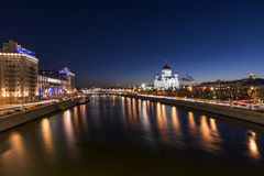 Moscow River in the evening from the Big Stone Bridge Royalty Free Stock Photography