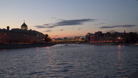 Moscow River in the evening. You can see the dome of the Cathedral of Christ the Savior. On the horizon of the Kremlin tower stock footage