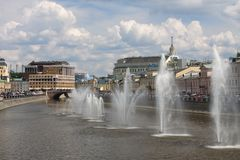 Moscow river. Fountains on the Moscow River near Kadyshevskaya embankment stock photo