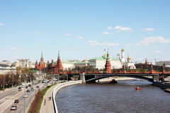 Moscow, river, highway and Kremlin. Kind on Moscow Kremlin, river Moscow, Large bridge Stock Images