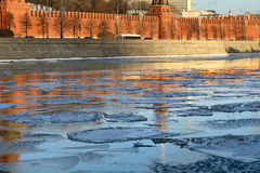 Moscow river with ice Stock Photography