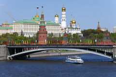 The Moscow River and Kremlin. Stock Photos