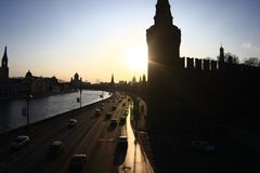 Moscow river with kremlin 3 Royalty Free Stock Photography
