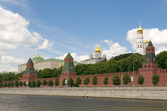 Moscow river and Kremlin Royalty Free Stock Images