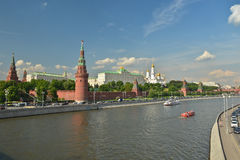 Moscow river and the Kremlin. Royalty Free Stock Images