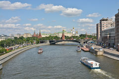 Moscow river and the Kremlin. Royalty Free Stock Image