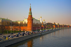 Moscow river. Kremlin Embankment. Kremlin Embankment of Moscow river with cars Stock Photography