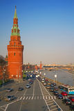 Moscow river. Kremlin Embankment. Moscow Kremlin and river. Road with a cars Stock Images