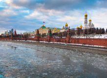 Moscow river and Kremlin embankment at winter Stock Photo
