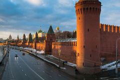 Moscow river and Kremlin embankment at winter Stock Image