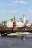 Moscow, river, Kremlin and gold domes. Moscow, to down the river a ship swims in the direction of the Kremlin wall and gold domes Royalty Free Stock Image
