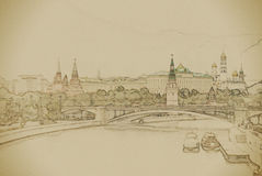 Moscow River and the Kremlin Royalty Free Stock Images