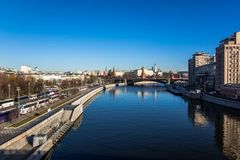 Moscow river and Kremlin royalty free stock photo