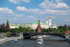 Moscow river and Kremlin stock photos