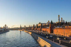 Moscow river and kremlin at sunset. Russia Royalty Free Stock Photography
