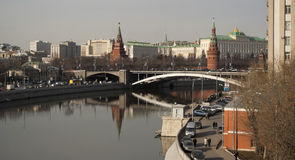 Moscow river and kremlin towers Stock Images