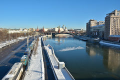 Moscow river and the Kremlin. Royalty Free Stock Photos