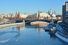 Moscow river and the Kremlin. Royalty Free Stock Photo