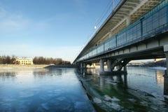 Moscow River, Luzhnetskaya Bridge (Metro Bridge) Royalty Free Stock Image