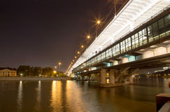 Moscow River, Luzhnetskaya Bridge (Metro Bridge) and promenade Stock Photos