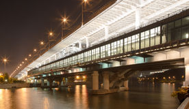 Moscow River, Luzhnetskaya Bridge (Metro Bridge) and promenade Stock Images