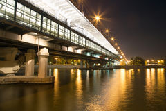 Moscow River, Luzhnetskaya Bridge (Metro Bridge) and promenade Royalty Free Stock Photos