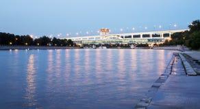 Moscow River, Luzhnetskaya Bridge, Moscow, Russia Stock Photos