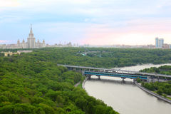 Moscow River, Luzhnetskaya Bridge and MSU Royalty Free Stock Photos